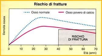 grafico illustrante l'andamento della massa ossea e del rischio fratture